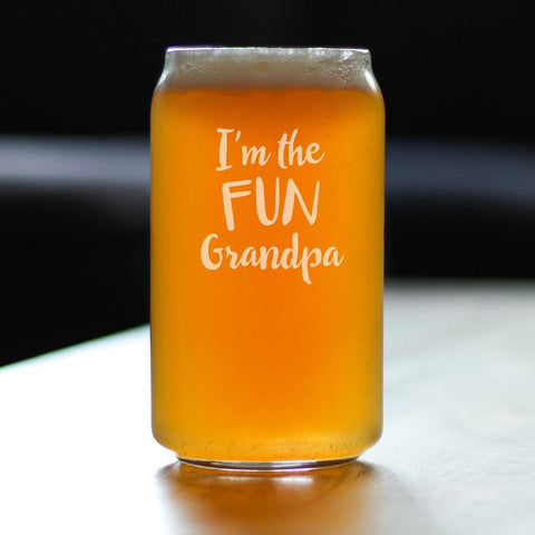 I'm The Fun Grandpa - 16 Ounce Beer Can Pint Glass
