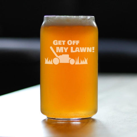 Image of Get Off My Lawn - 16 Ounce Beer Can Pint Glass