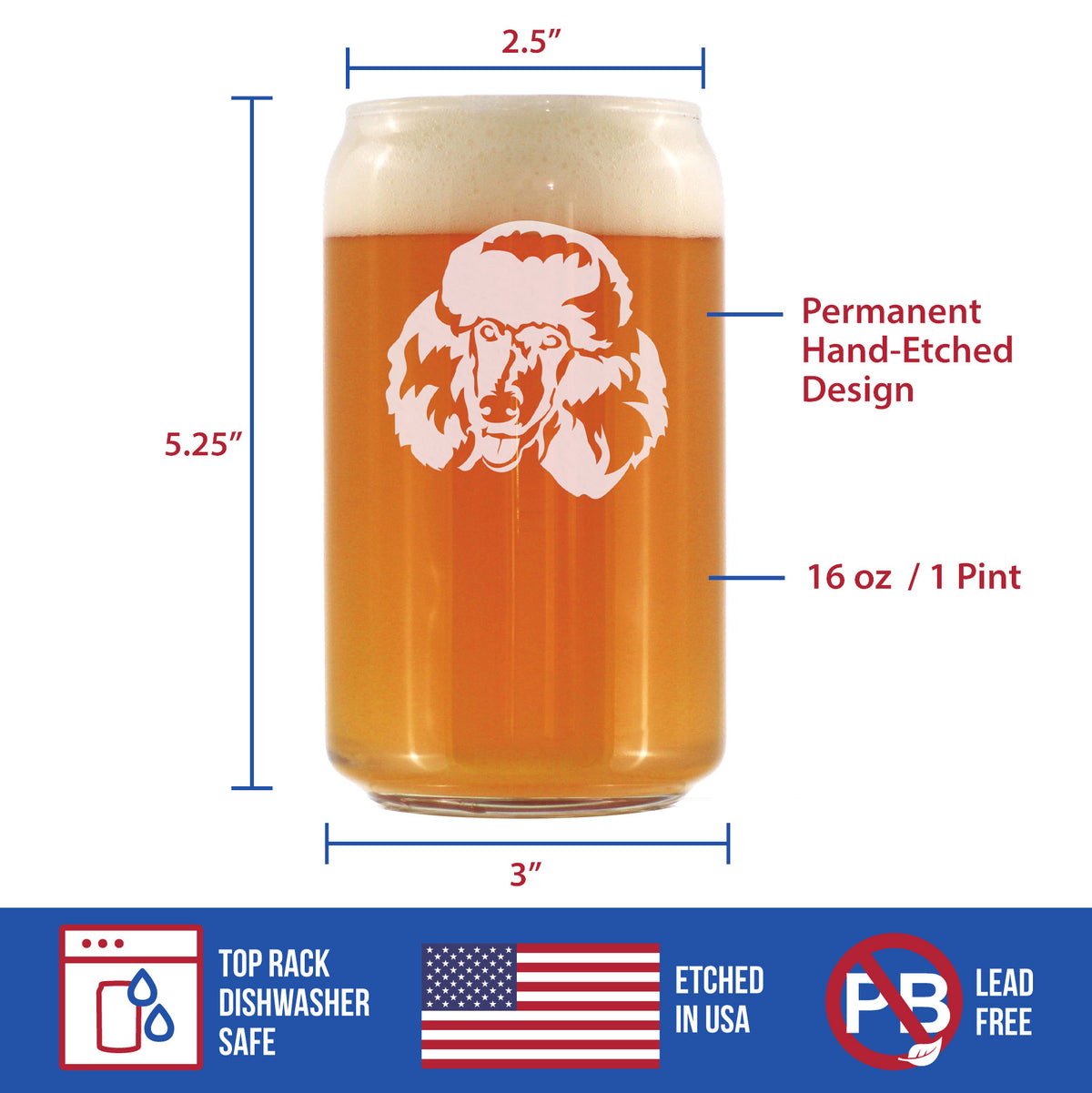 Happy Poodle Face - 16 Ounce Beer Can Pint Glass