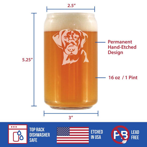 Image of Labrador Face - 16 Ounce Beer Can Pint Glass