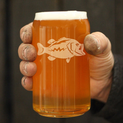 Image of Largemouth Bass - 16 Ounce Beer Can Pint Glass