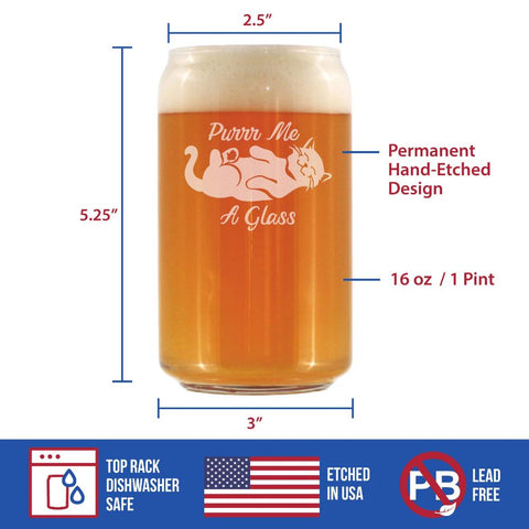 Image of Purr Me A Glass - 16 Ounce Beer Can Pint Glass
