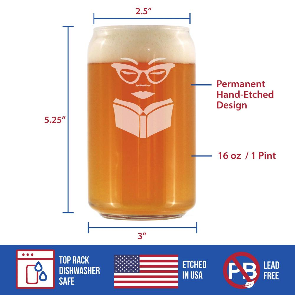 Book Reading Woman - 16 Ounce Beer Can Pint Glass