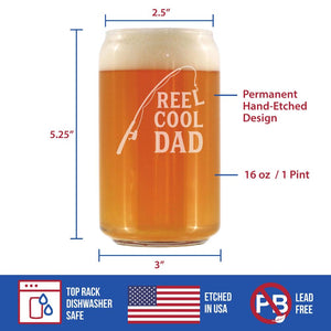 Reel Cool Dad - 16 Ounce Beer Can Pint Glass