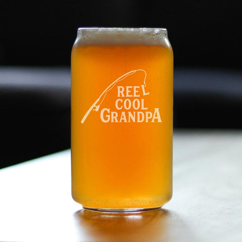 Image of Reel Cool Grandpa - 16 Ounce Beer Can Pint Glass