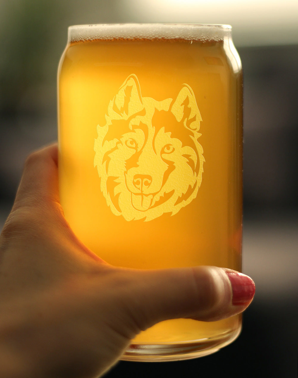 Siberian Husky Face - 16 Ounce Beer Can Pint Glass