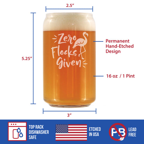 Image of Zero Flocks Given - 16 Ounce Beer Can Pint Glass