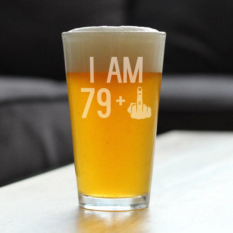 Image of 79 + 1 Middle Finger - 16 Ounce Pint Glass