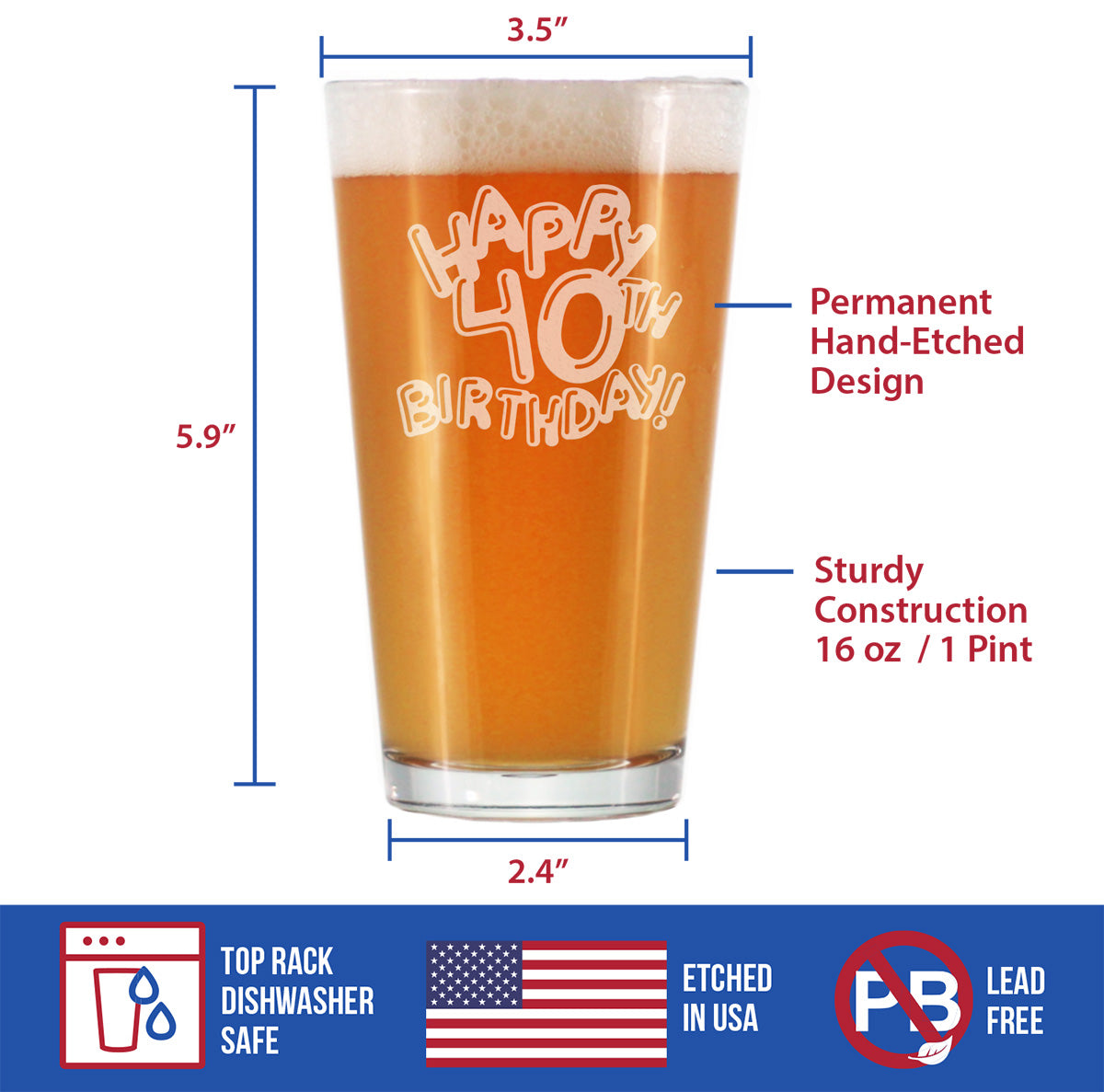 Happy 40th Birthday Balloons - 16 Ounce Pint Glass