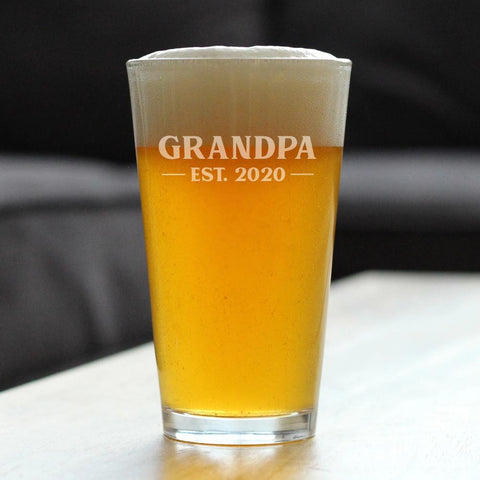 Grandpa Est. 2020 Bold - 16 Ounce Pint Glass