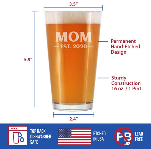 Image of Mom Est. 2020 - Bold - 16 Ounce Pint Glass