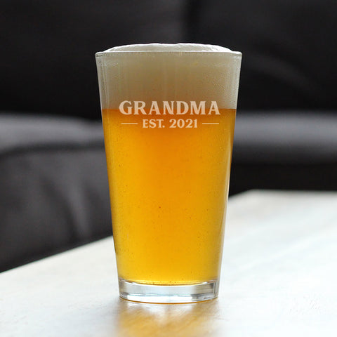 Grandma Est. 2021 - Bold - 16 Ounce Pint Glass