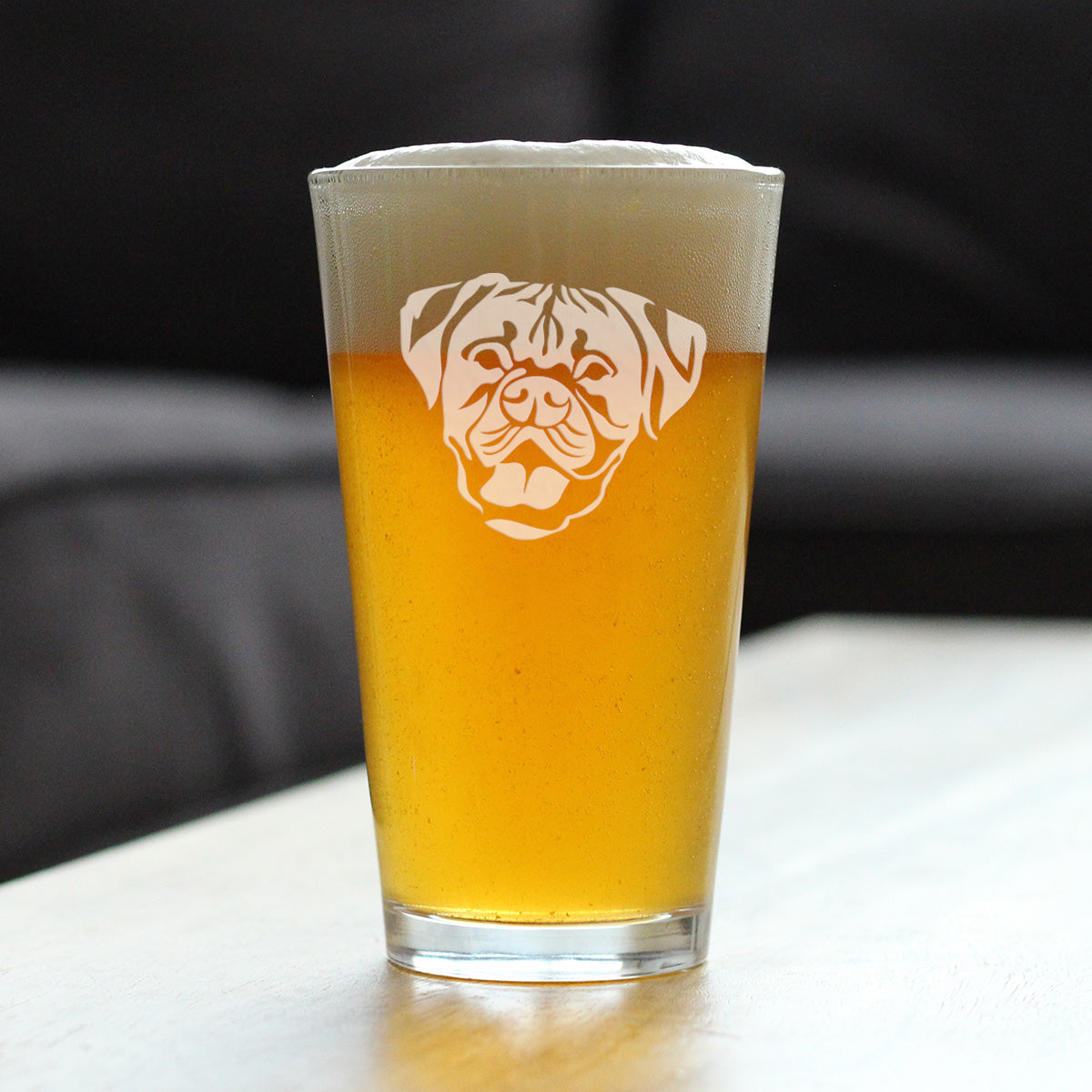 Happy Boxer Face | Natural Ears - 16 Ounce Pint Glass