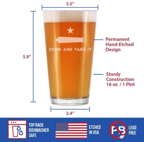 Come & Take It - 16 Ounce Pint Glass