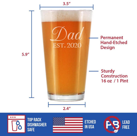 Image of Dad Est. 2020 - 16 Ounce Pint Glass