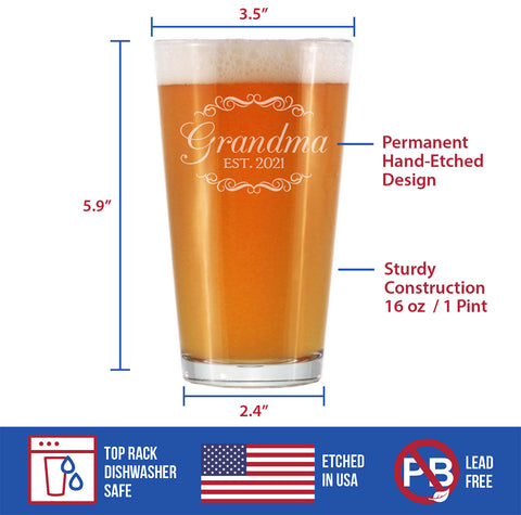Grandma Est. 2021 - 16 Ounce Pint Glass