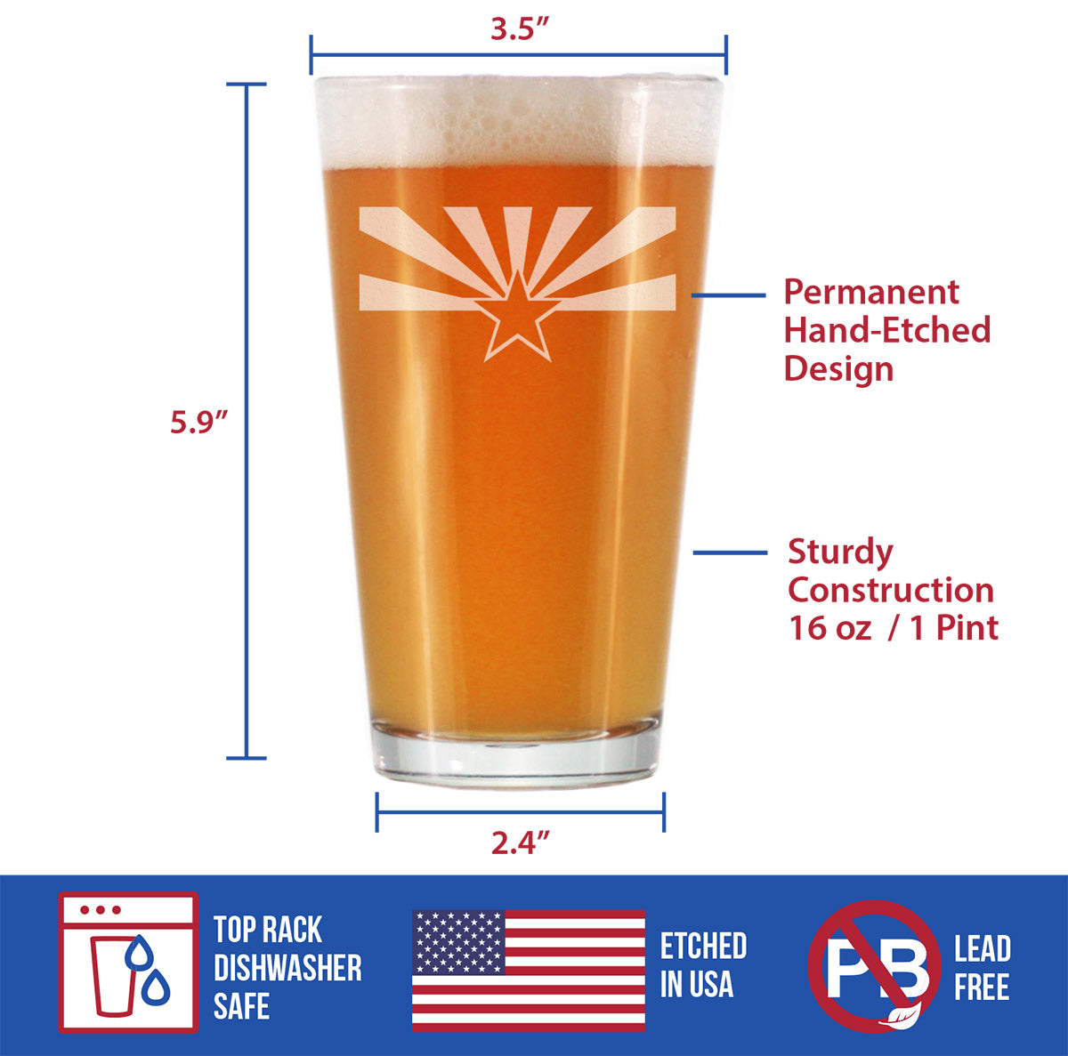Arizona Flag - 16 Ounce Pint Glass