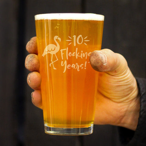 10 Flocking Years - 16 Ounce Pint Glass