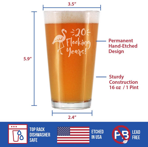 20 Flocking Years - 16 Ounce Pint Glass