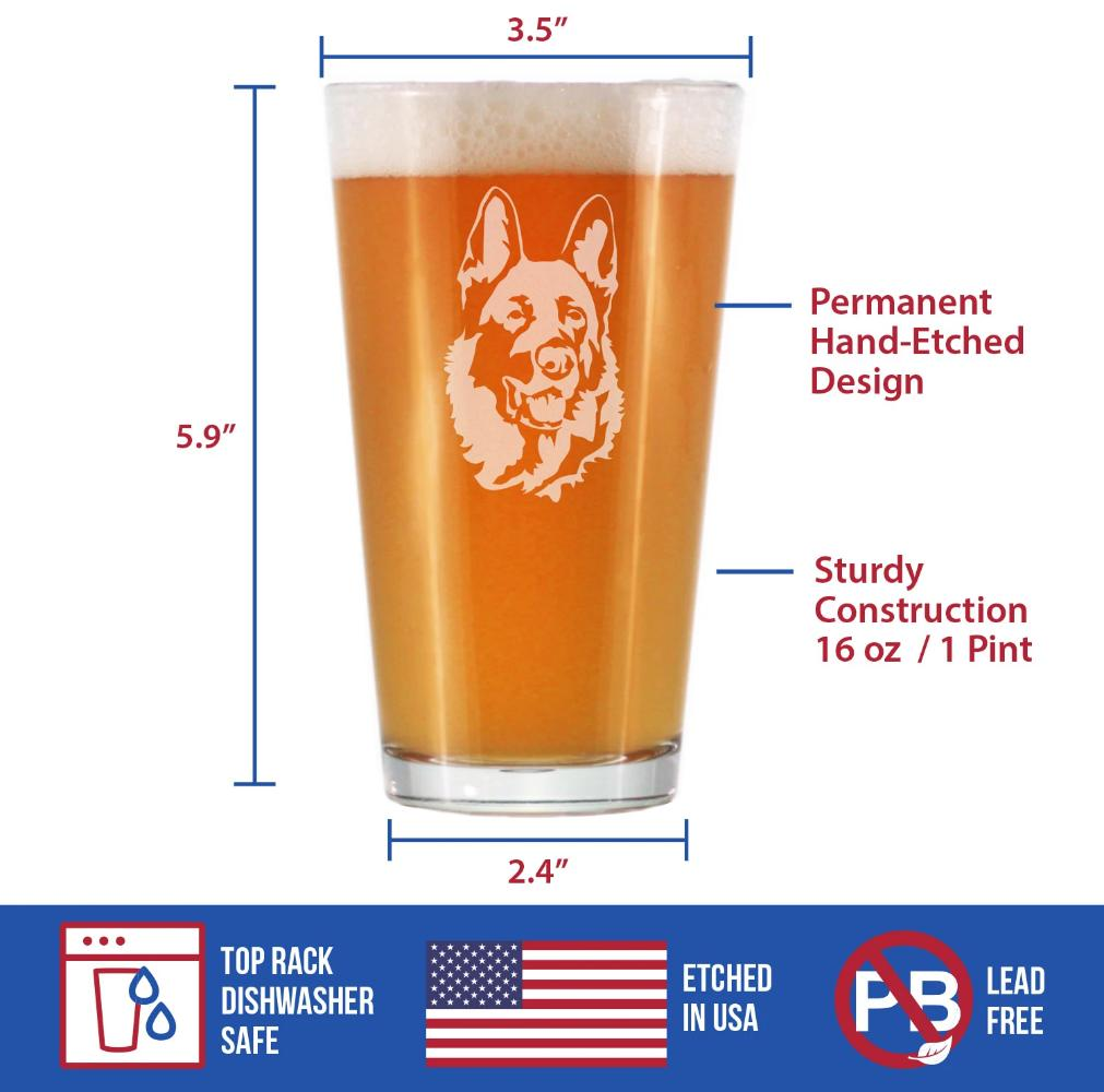 German Shepherd Happy Face - 16 Ounce Pint Glass