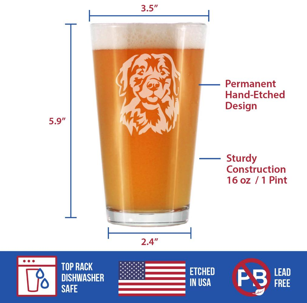 Golden Retriever Happy Face - 16 Ounce Pint Glass