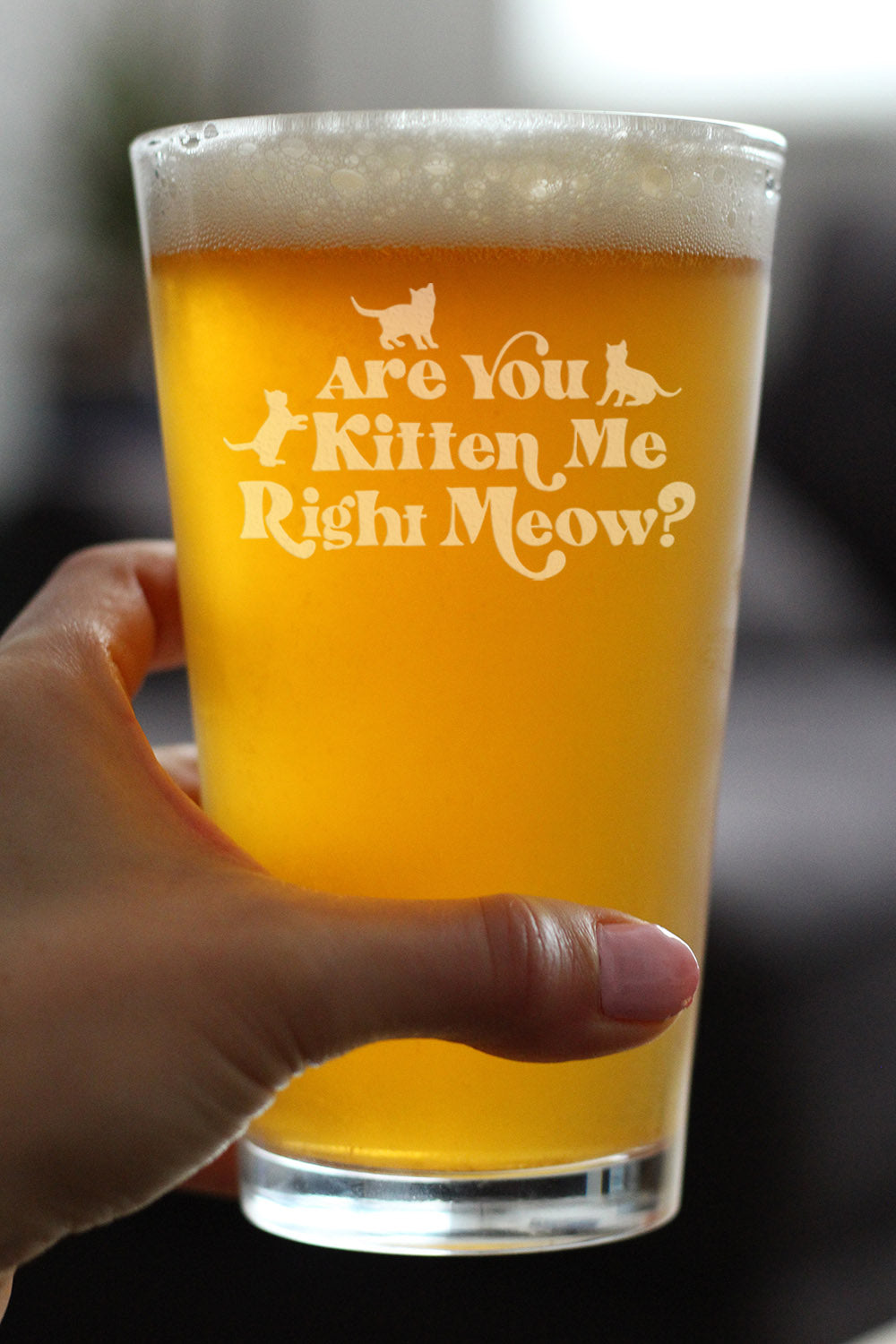 Are You Kitten Me Right Meow - 16 Ounce Pint Glass