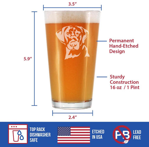 Image of Labrador Face - 16 Ounce Pint Glass