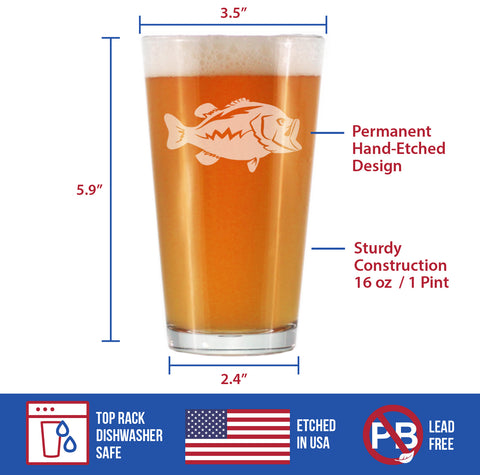 Image of Largemouth Bass - 16 Ounce Pint Glass