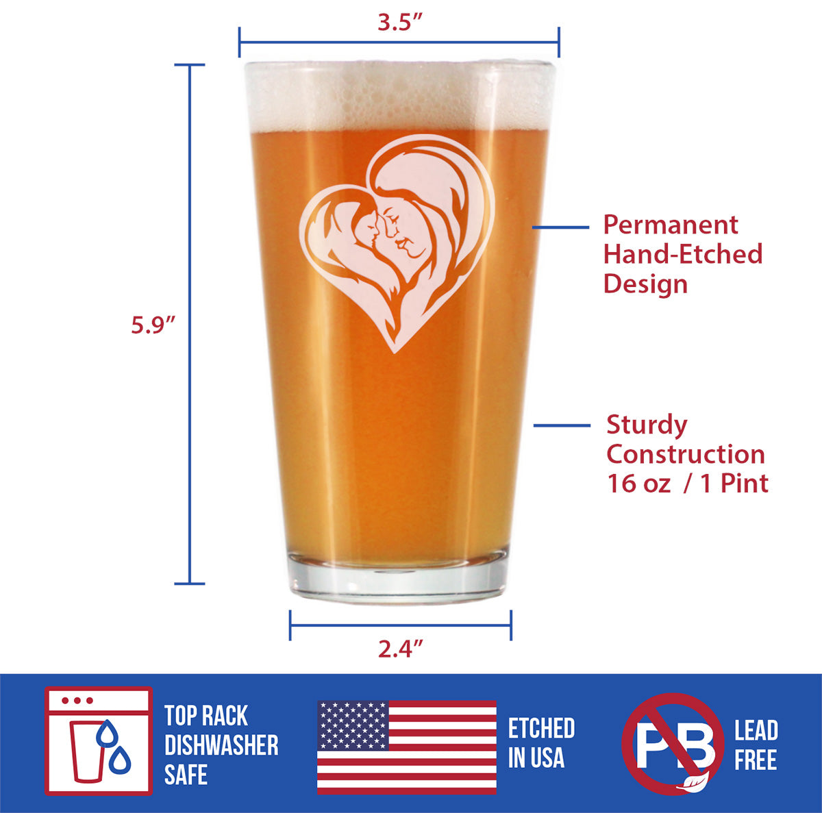 Mother's Love - 16 Ounce Pint Glass