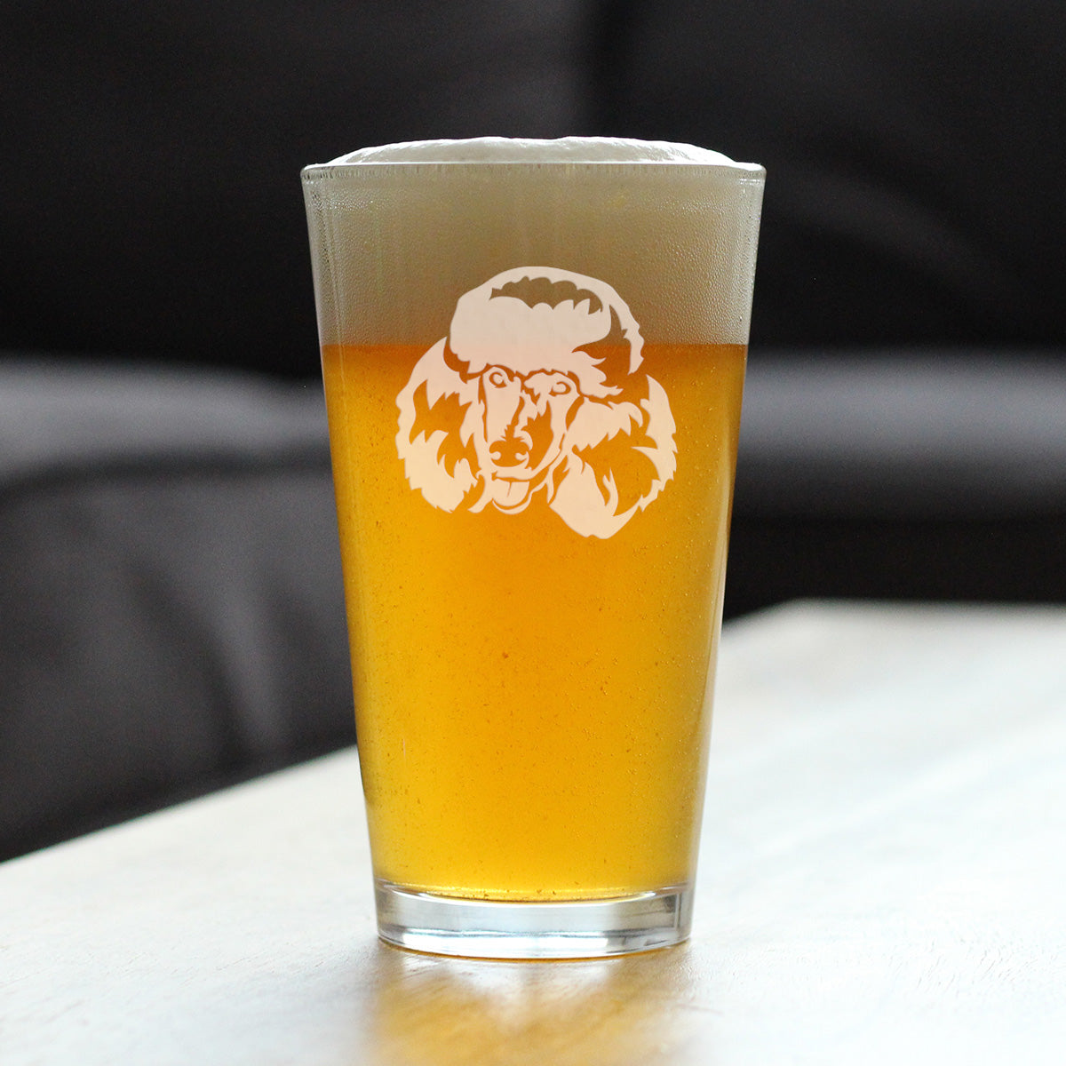 Happy Poodle Face - 16 Ounce Pint Glass