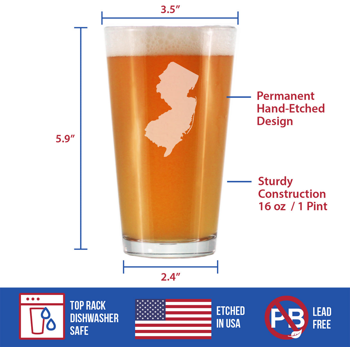 State of New Jersey - 16 Ounce Pint Glass