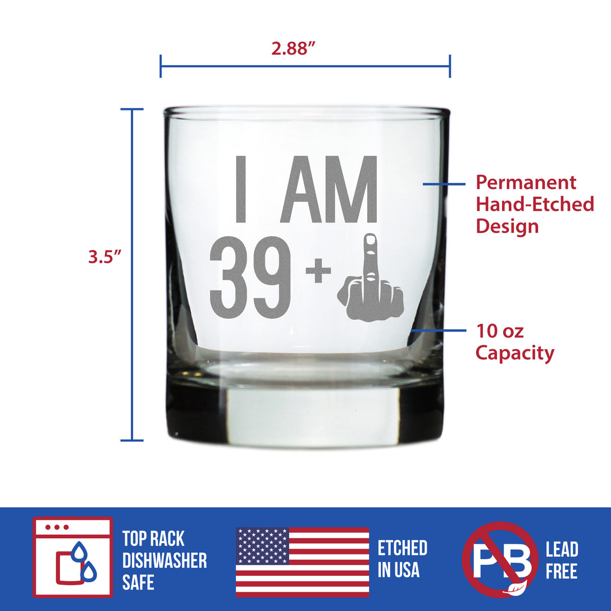 39 + 1 Middle Finger - 10 Ounce Rocks Glass