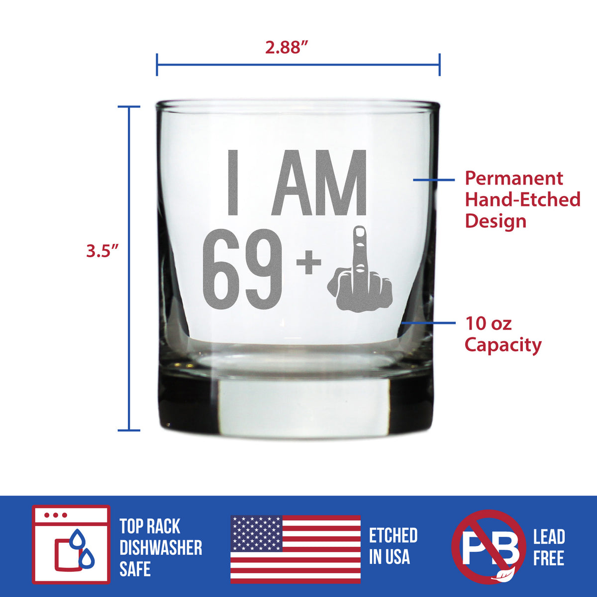 69 + 1 Middle Finger - 10 Ounce Rocks Glass