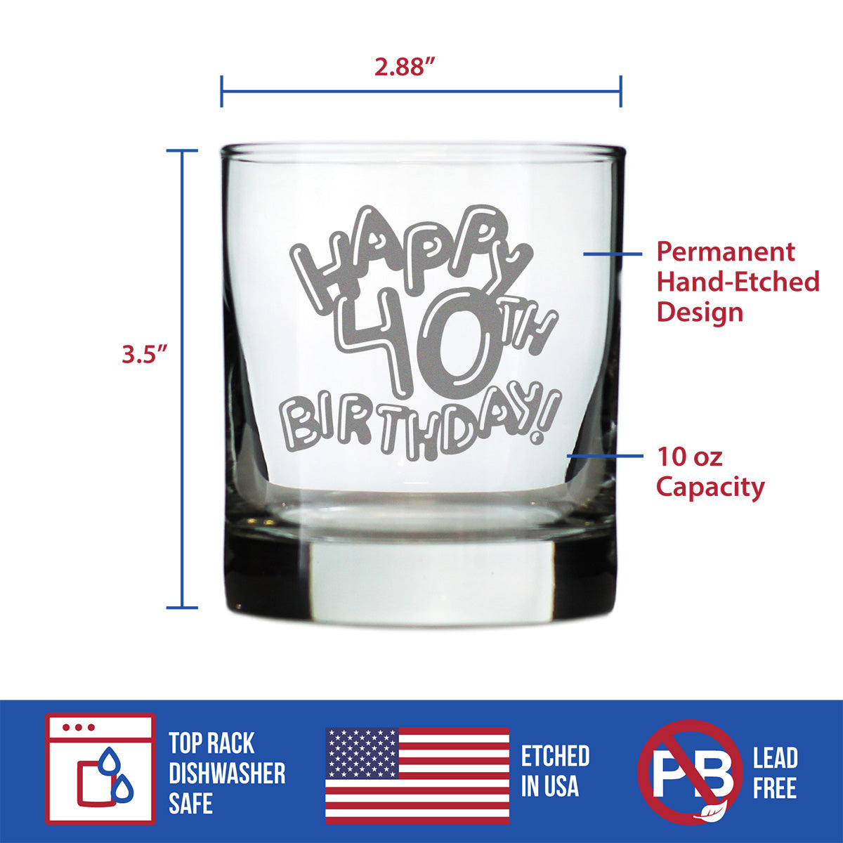Happy 40th Birthday Balloons - 10 Ounce Rocks Glass