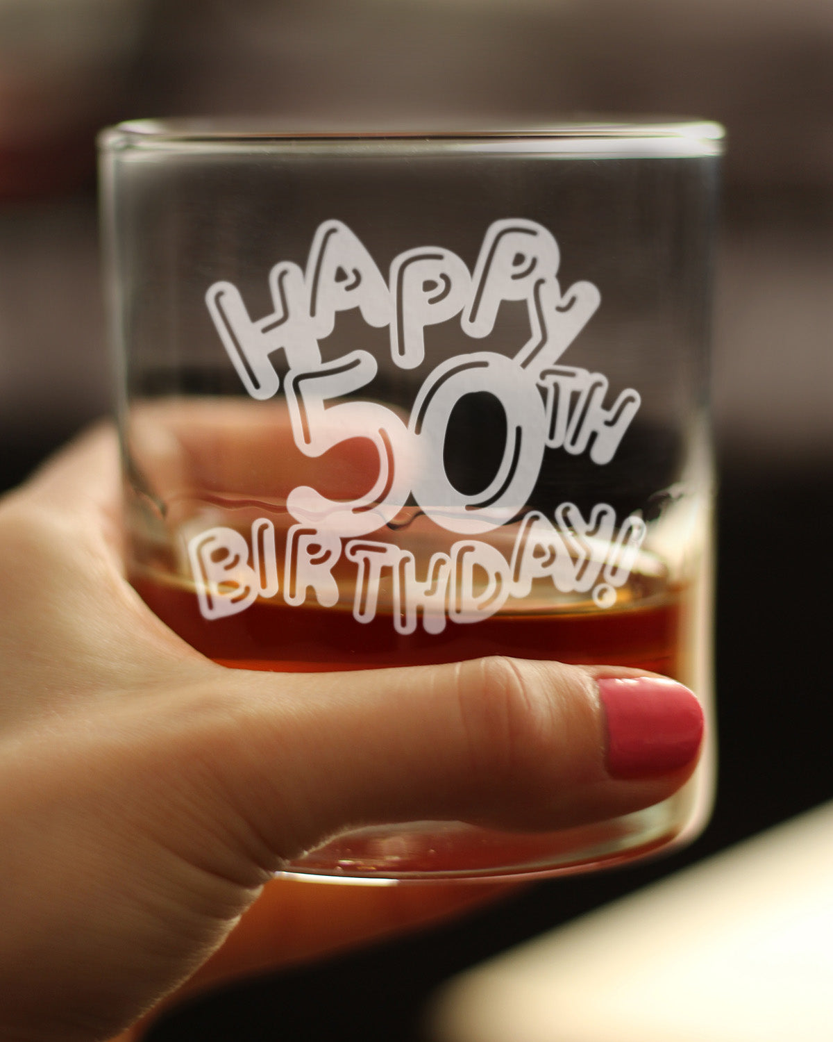 Happy 50th Birthday Balloons - 10 Ounce Rocks Glass