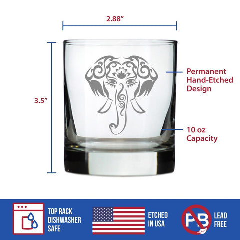 Elephant Boho - 10 Ounce Rocks Glass