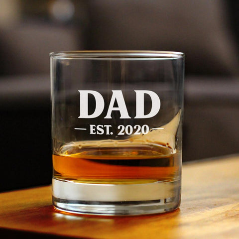Dad Est. 2020 - Bold - 10 Ounce Rocks Glass