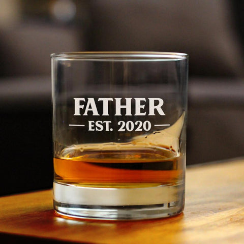 Image of Father Est. 2020 - Bold - 10 Ounce Rocks Glass