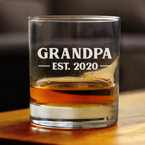 Image of Grandpa Est. 2020 Bold - 10 Ounce Rocks Glass