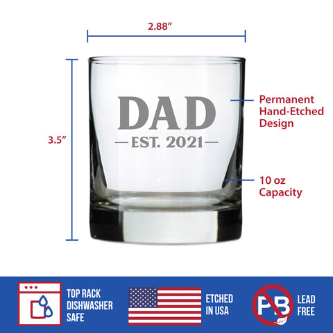Dad Est. 2021 - Bold - 10 Ounce Rocks Glass