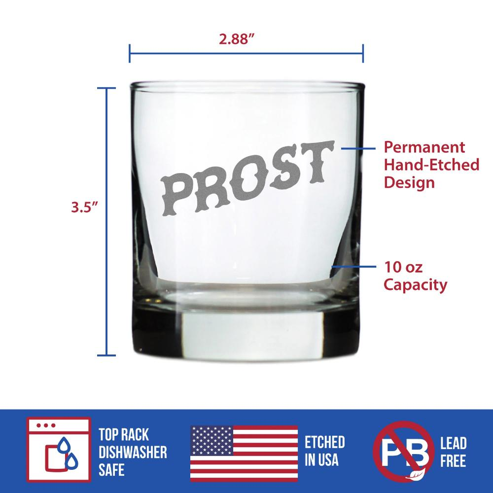 Cheers German - Prost - 10 Ounce Rocks Glass