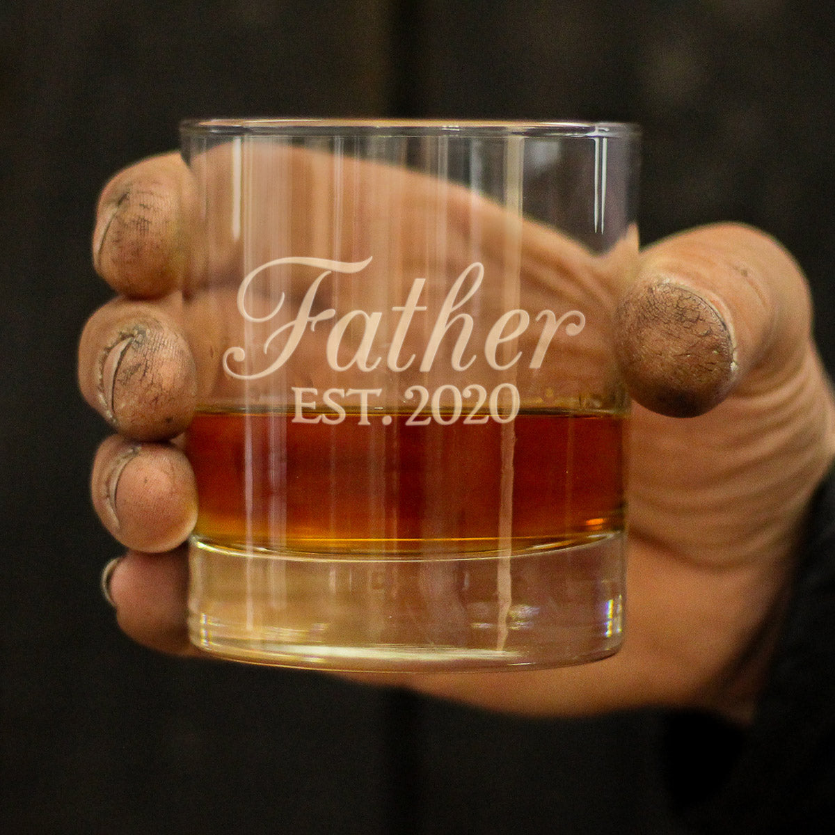 Father Est. 2020 - 10 Ounce Rocks Glass