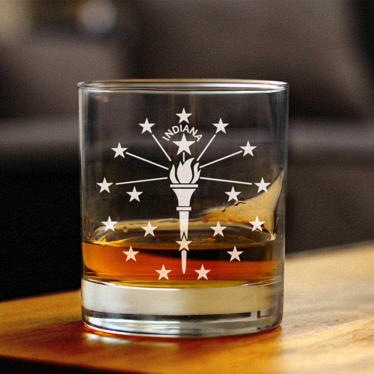 Indiana Flag - 10 Ounce Rocks Glass