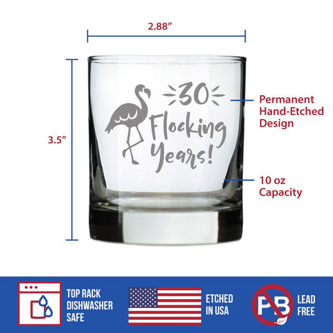 30 Flocking Years - 10 Ounce Rocks Glass