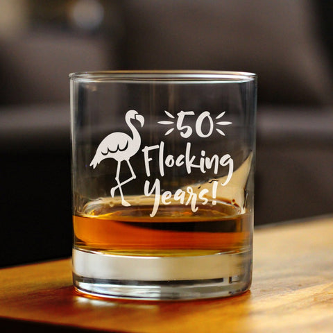 Image of 50 Flocking Years - 10 Ounce Rocks Glass