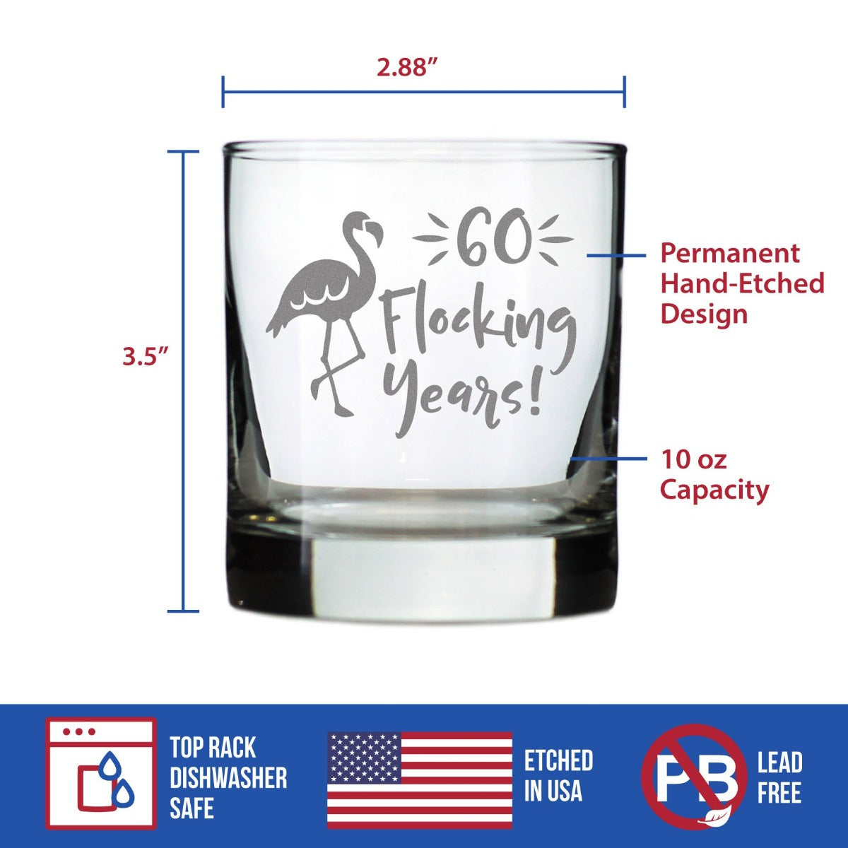 60 Flocking Years - 10 Ounce Rocks Glass