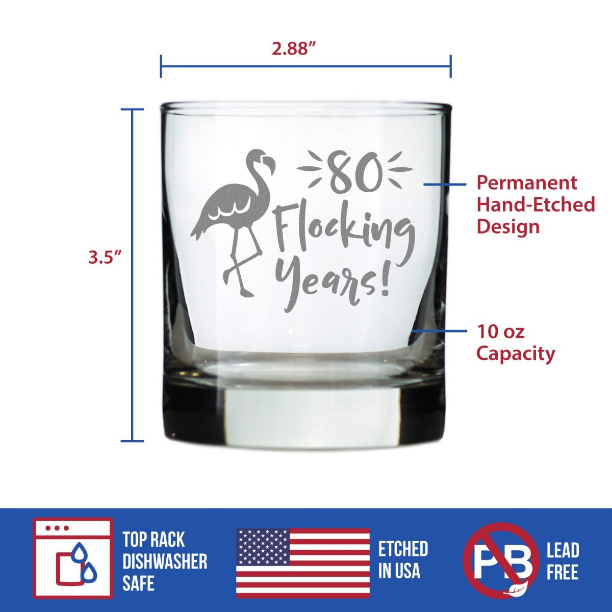 80 Flocking Years - 10 Ounce Rocks Glass