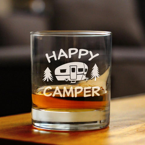 Image of Happy Camper - 10 Ounce Rocks Glass