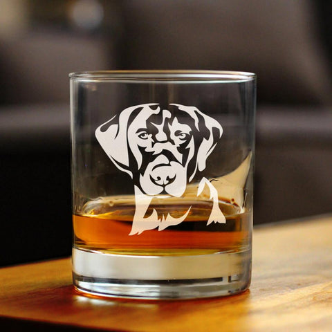 Labrador Face - 10 Ounce Rocks Glass