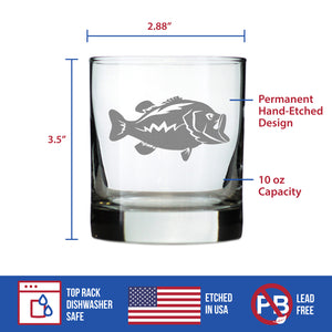 Largemouth Bass - 10 Ounce Rocks Glass